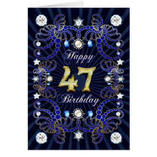 47th birthday card with masses of jewels