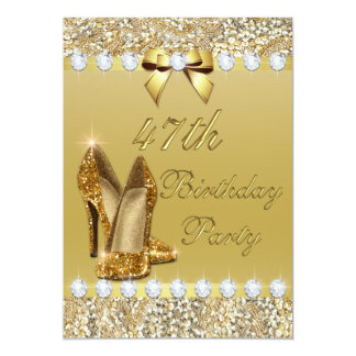 47th Birthday Classy Gold Heels Sequins Diamonds Card