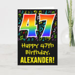 [ Thumbnail: 47th Birthday: Colorful Music Symbols + Rainbow 47 Card ]