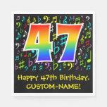[ Thumbnail: 47th Birthday - Colorful Music Symbols, Rainbow 47 Napkins ]
