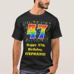 [ Thumbnail: 47th Birthday: Colorful Music Symbols, Rainbow 47 T-Shirt ]