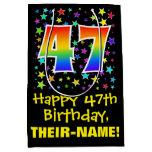 [ Thumbnail: 47th Birthday: Colorful Stars Pattern & Rainbow 47 Gift Bag ]