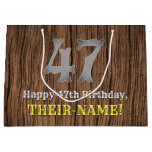 [ Thumbnail: 47th Birthday: Country Western Inspired Look, Name Gift Bag ]