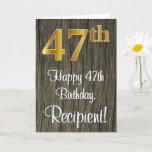 [ Thumbnail: 47th Birthday: Elegant Faux Gold Look #, Faux Wood Card ]