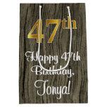 [ Thumbnail: 47th Birthday: Elegant Faux Gold Look #, Faux Wood Gift Bag ]