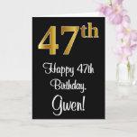 [ Thumbnail: 47th Birthday ~ Elegant Luxurious Faux Gold Look # Card ]
