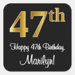 [ Thumbnail: 47th Birthday – Elegant Luxurious Faux Gold Look # Sticker ]