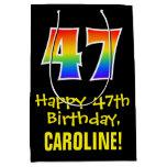 "[ Thumbnail: 47th Birthday: Fun, Bold, Colorful, Rainbow ""47"" Gift Bag ]"