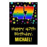 [ Thumbnail: 47th Birthday: Fun, Colorful Stars + Rainbow # 47 Card ]