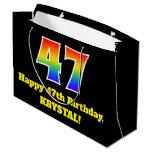 [ Thumbnail: 47th Birthday ~ Fun, Colorful, Vibrant, Rainbow 47 Gift Bag ]