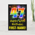 [ Thumbnail: 47th Birthday: Fun Fireworks Pattern + Rainbow 47 Card ]