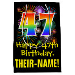 [ Thumbnail: 47th Birthday: Fun Fireworks Pattern + Rainbow 47 Gift Bag ]