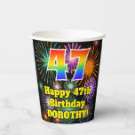 [ Thumbnail: 47th Birthday: Fun Fireworks Pattern + Rainbow 47 ]