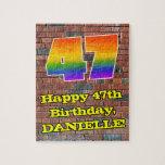 [ Thumbnail: 47th Birthday: Fun Graffiti-Inspired Rainbow 47 Jigsaw Puzzle ]