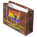 [ Thumbnail: 47th Birthday: Fun, Graffiti-Inspired Rainbow # 47 Gift Bag ]