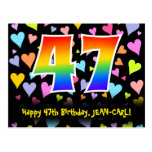 [ Thumbnail: 47th Birthday: Fun Hearts Pattern, Rainbow 47 Postcard ]