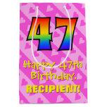 [ Thumbnail: 47th Birthday: Fun Pink Hearts Stripes; Rainbow 47 Gift Bag ]
