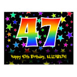 [ Thumbnail: 47th Birthday: Fun Stars Pattern, Rainbow 47, Name Postcard ]