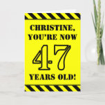 [ Thumbnail: 47th Birthday: Fun Stencil Style Text, Custom Name Card ]