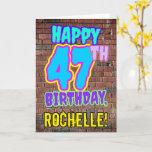 [ Thumbnail: 47th Birthday - Fun, Urban Graffiti Inspired Look Card ]