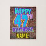 [ Thumbnail: 47th Birthday ~ Fun, Urban Graffiti Inspired Look Jigsaw Puzzle ]