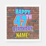 [ Thumbnail: 47th Birthday ~ Fun, Urban Graffiti Inspired Look Napkins ]