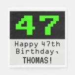 """[ Thumbnail: 47th Birthday - Nerdy / Geeky Style """"47"""" & Name Napkins ]"""