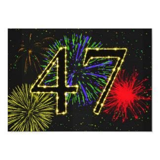47th birthday party invitate 5x7 paper invitation card