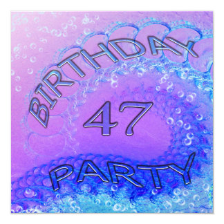 47th Birthday party invitation, Abstract and bubb Invitation