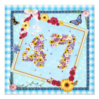 47th Birthday party Invitation flowers,butterflies