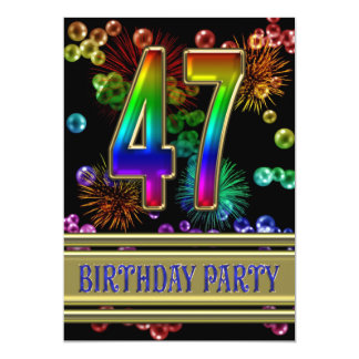 47th Birthday party Invitation with bubbles