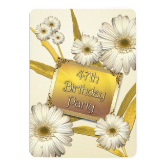 47th Birthday Party Invitation with daisies