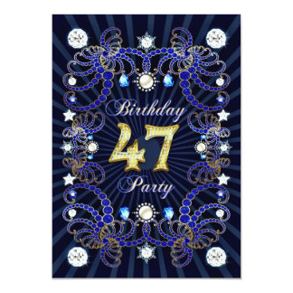 47th birthday party invite with masses of jewels