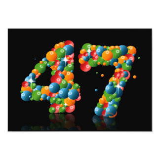 47th Birthday party, with bubbles and balls 5x7 Paper Invitation Card