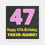 "[ Thumbnail: 47th Birthday: Pink Stripes and Hearts ""47"" + Name Napkins ]"