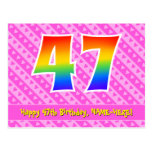 [ Thumbnail: 47th Birthday: Pink Stripes & Hearts, Rainbow 47 Postcard ]