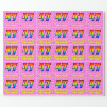 [ Thumbnail: 47th Birthday: Pink Stripes & Hearts, Rainbow # 47 Wrapping Paper ]