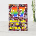 "[ Thumbnail: 47th Birthday; Rustic Autumn Leaves; Rainbow ""47"" Card ]"