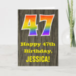 "[ Thumbnail: 47th Birthday: Rustic Faux Wood Look, Rainbow ""47"" Card ]"
