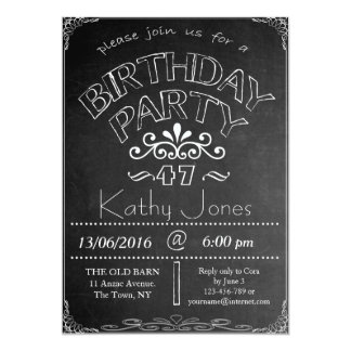47th Chalkboard Birthday Celebration Invitation