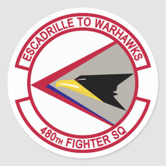480th Fighter Squadron - Escadrille To Warhawks Classic Round Sticker