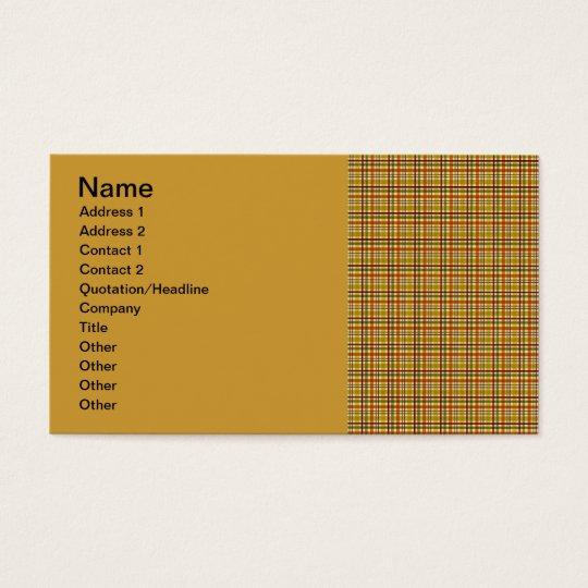 4811__plaid-02-fall BROWN TAN RED PLAID PATTERN TE Business Card