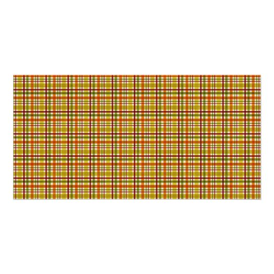 4811__plaid-02-fall BROWN TAN RED PLAID PATTERN TE Card