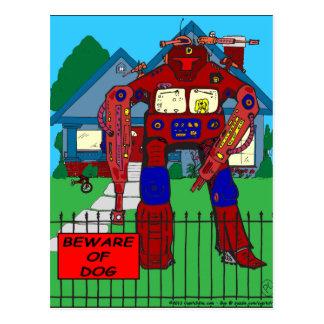 481 Beware of Dog Robot cartoon Postcard
