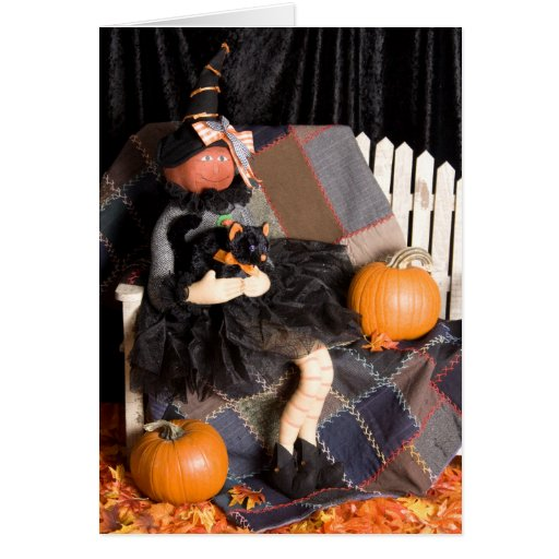 4830 Witch with Kitty Halloween Greeting Card
