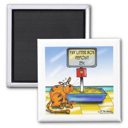 Pay Litter Box Deposit Cat Humor 2-inch Square Refrigerator Magnet