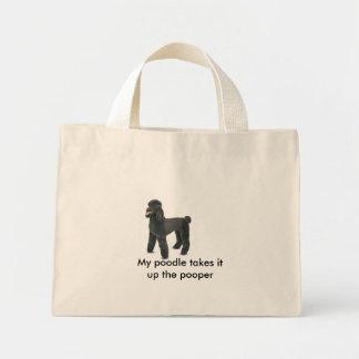 4861-Plush-BlackPoodle, My poodle takes it up t... Mini Tote Bag