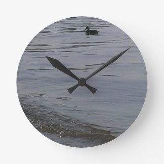 486 Ducks in the shallows Round Clock