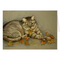4872 Autumn Cat Greeting Card