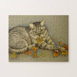 """4872 Cat with Fall Leaves Puzzle<br><div class=""""desc"""">From an original acrylic painting by Ruth Garrison. Featuring our pet cat Sasha.</div>"""